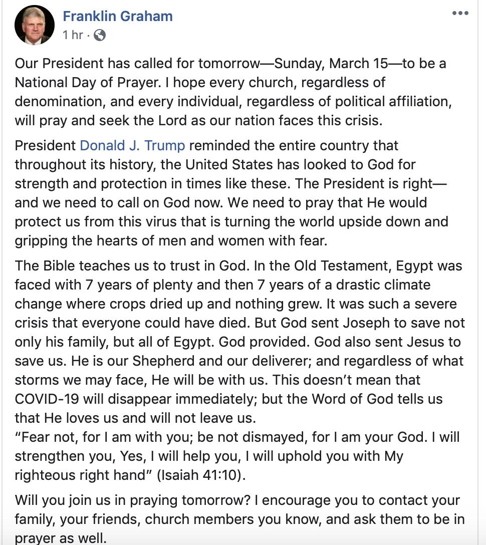 Franklin Graham Facebook post from Sat. March 14