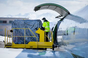 Unloading medical supplies from the DC-8 in Anchorage.
