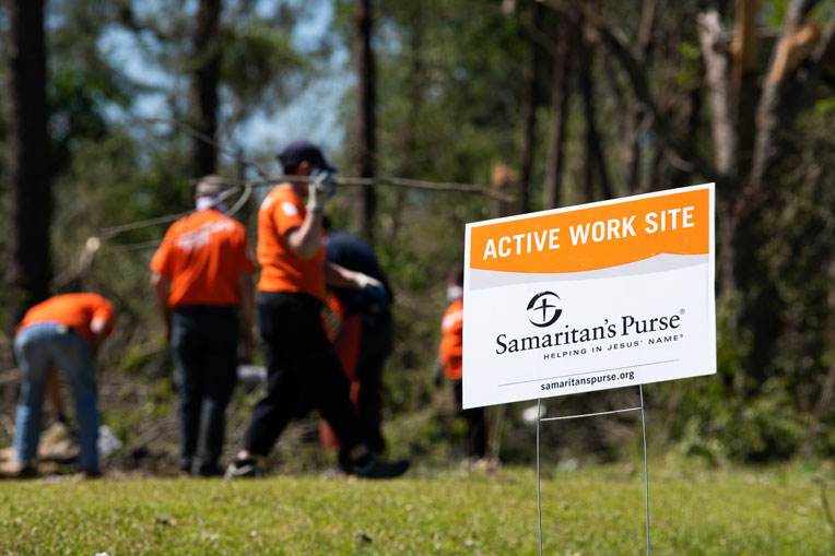 Volunteers are spread out at work sites in and around Laurel.