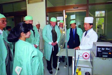 Franklin Graham tours a hospital where Samaritan's Purse donated medical equipment and supplies.