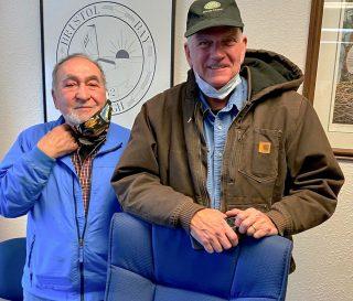 Samaritan's Purse President Franklin Graham meets with Daniel O'Hara, mayor of Naknek, Alaska.