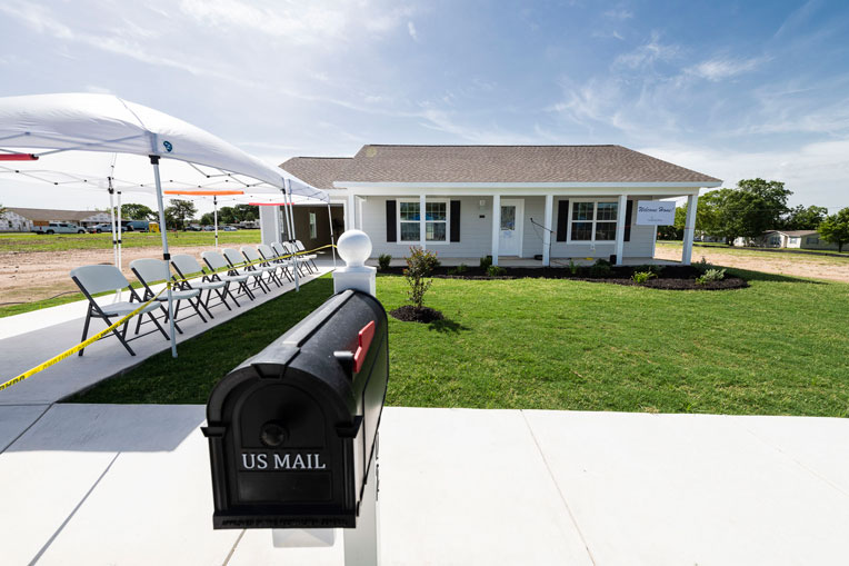 Francisca Castañeda's new home in La Grange, Texas, is one of 20 homes to be built in the new Hope Hill subdivision constructed by Samaritan's Purse.