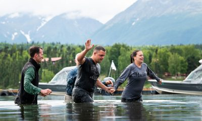 Zach and Courtney Oglesby were both baptized in Lake Clark during Week One at Samaritan Lodge Alaska.