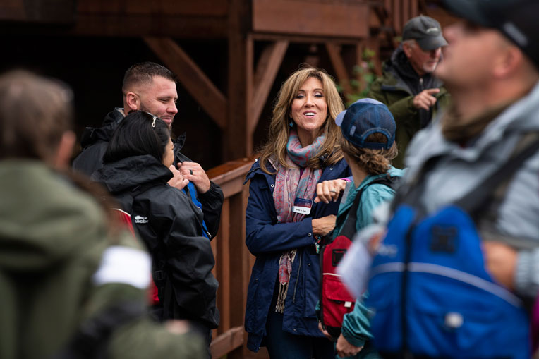 Accomplished Navy pilot Tammie Jo Shults meets with military couples during a visit she and her husband Dean made to Samaritan Lodge.