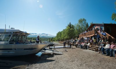 Franklin Graham addresses those in attendance at the dedication of Samaritan Lodge Alaska in 2012. He is speaking from the Jay Hammond, a special wheelchair-accessible boat that's still an important centerpiece for excursions on Lake Clark.