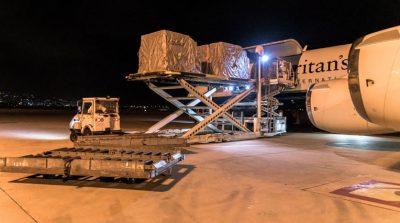 Unloading emergency relief supplies in Beirut.