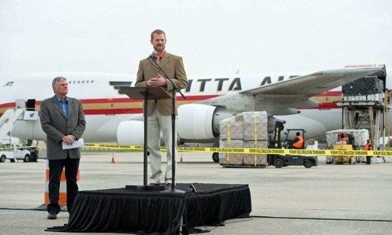 Dr. Kent Brantly and Franklin Graham announce an airlift of Ebola treatment supplies to Liberia. Months earlier, Dr. Brantley and nurse Nancy Writebol contracted but survived the deadly illness.