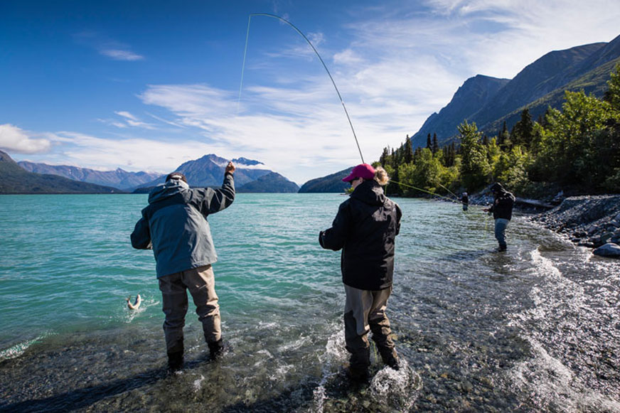 Military couples enjoy a successful fishing excursion on the upper part of Lake Clark.