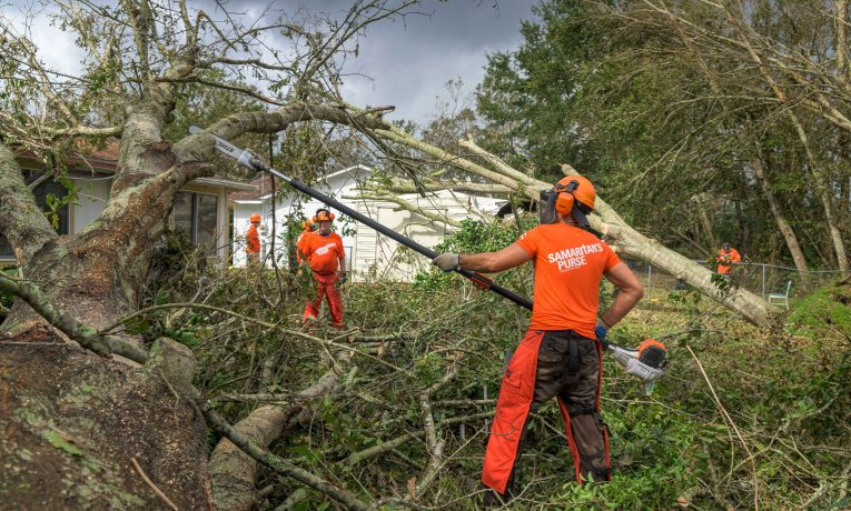 Our disaster relief volunteers are helping cut away trees and remove debris that filled yards after Hurricane Sally roared through.