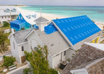 Volunteers tarped the roof of this church in the Bahamas after  Hurricane Dorian.