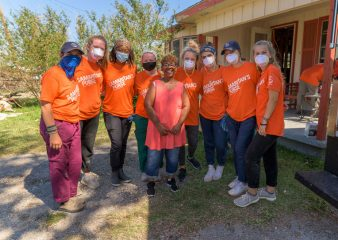 Our volunteers with homeowner Betty Jefferson.