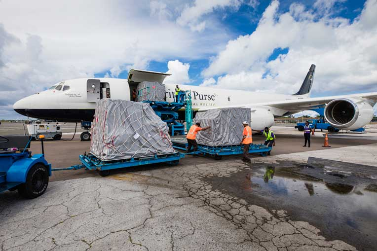 The plane was unloaded in Nassau, the Bahamas, on Oct. 15.