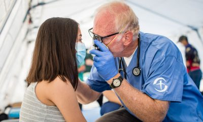 Dr. Mark Agness cares for a patient at the Samaritan's Purse Emergency Field Hospital in San Pedro Sula, Honduras.