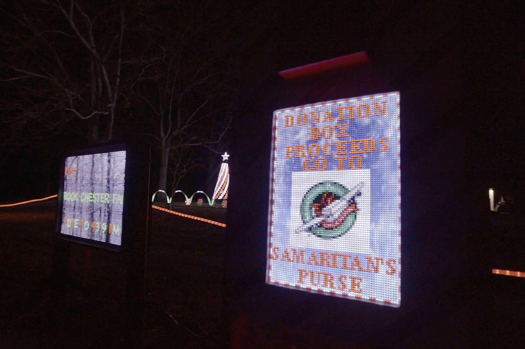 The Chesters used their popular Christmas light show to send more Operation Christmas Child shoeboxes.