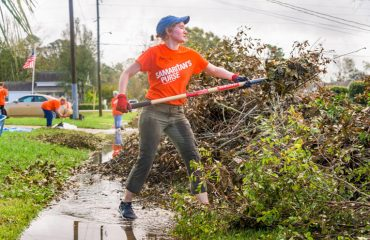 First-time volunteer Amanda Doughty came from Arkansas to serve hurricane victims.