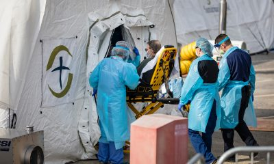 The first patient is wheeled into our Emergency Field Hospital in Lenoir, North Carolina.