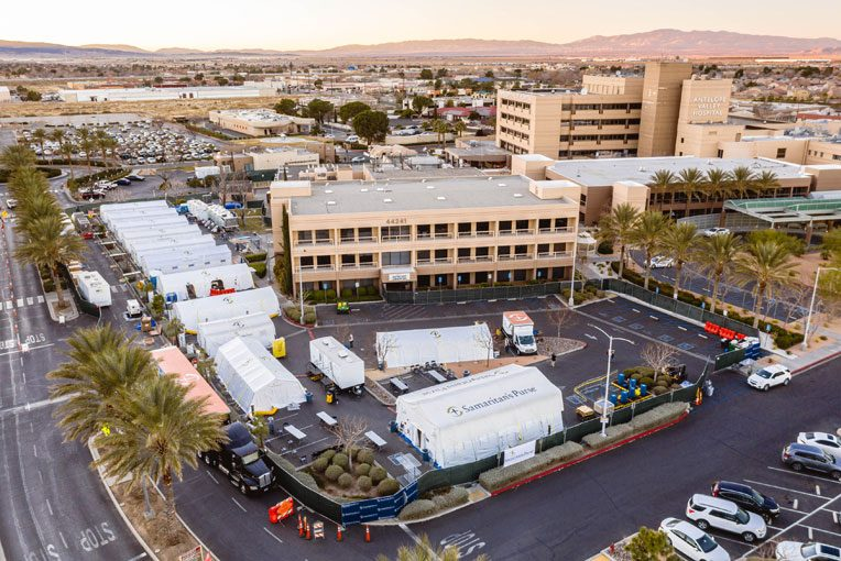 Our hospital was set up on the grounds of Antelope Valley Hospital.