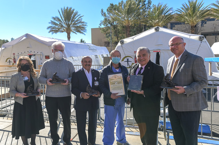 Stephanie Herider, chief Nursing Officer, Antelope Valley Hospital; Mayor R. Rex Parris, mayor of Lancaster; Ed Mirzabegian, CEO, Antelope Valley Hospital; Dr. Ed Carns, Samaritan's Purse team lead; Dr. Felix Martin del Campo Jr., Samaritan's Purse board member; Pastor Paul Chappell, Lancaster Baptist Church