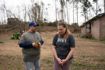 Khristy and Samuel Wilkins were shocked at the tornado's aftermath.