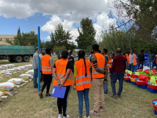 Our teams prepare for distributions of food and other items to displaced people in the Tigray region.