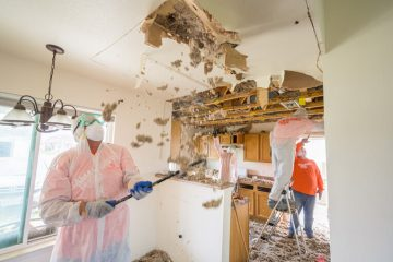 Samaritan's Purse are worke quickly to remove waterlogged ceilings.
