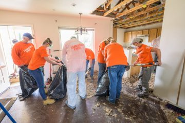 Samaritan's Purse volunteers are working hard to clean up water-damaged homes in Austin, Texas.