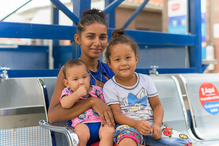 Wuileidy smiles with her two daughters at our maternal child health clinic on the border with Venezuela.