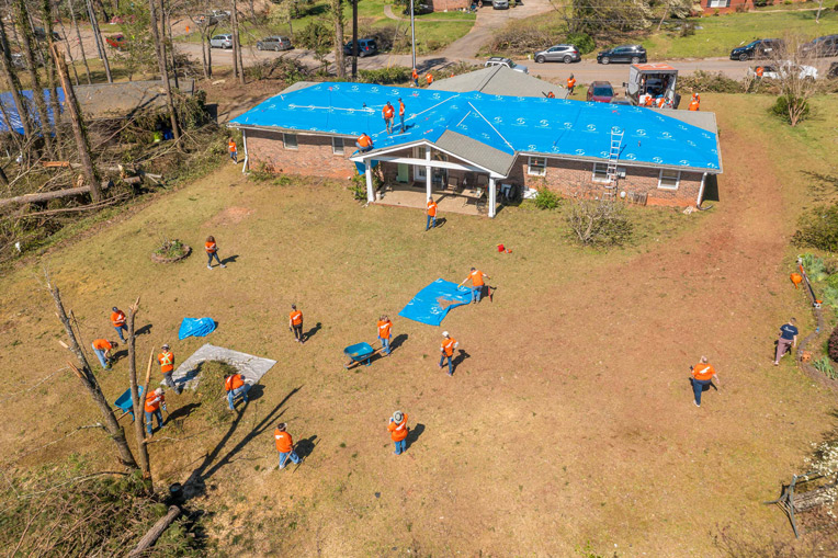 Volunteers continue to serve in Newnan, Georgia, and in others tornado-damaged areas in the southeast.