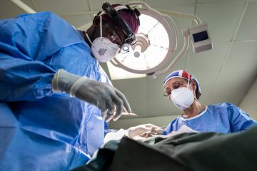 Surgeon Jewel Greywoode, left, and nurse Alison Herbert were part of the surgical team that performed 28 surgeries in April.