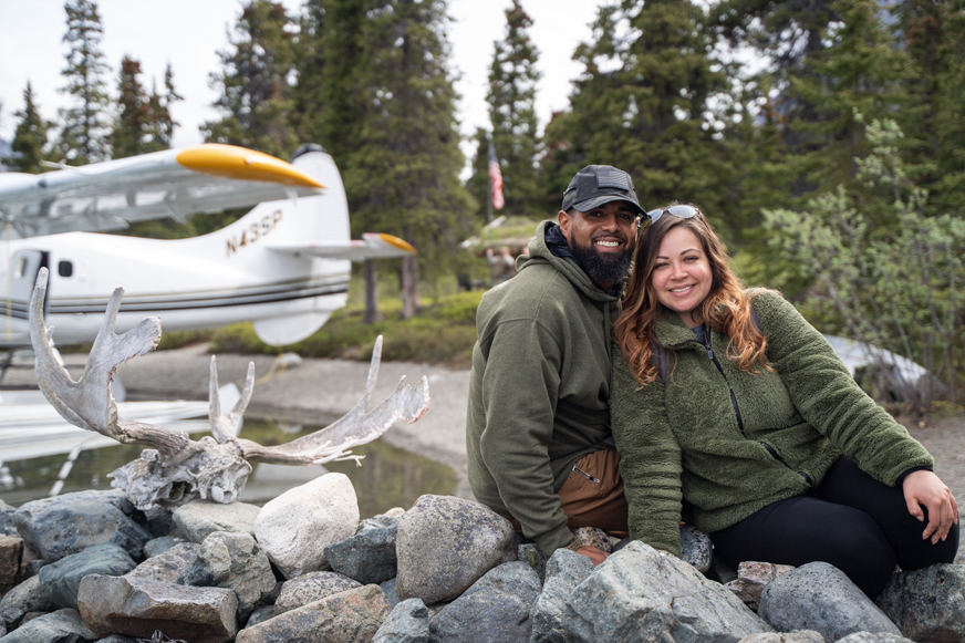 Army Staff Sergeant Eddie Jackson and his wife Krystle enjoyed an afternoon at Proenneke's Cabin in Lake Clark National Park.