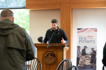 Army veteran Edward Graham, son of Franklin Graham, prayed during the event. Edward also rode.