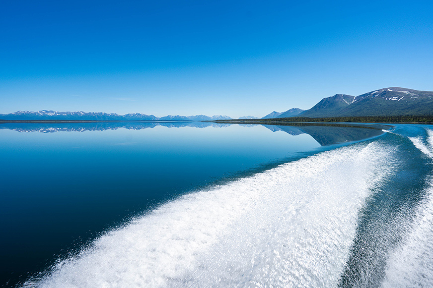 Couples enjoy scenes like this on an afternoon excursion on Lake Clark.