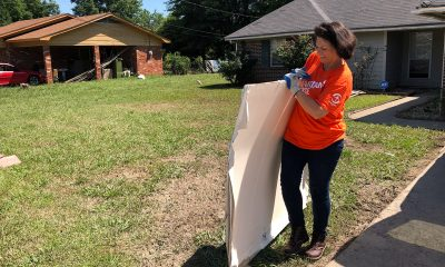 Volunteers worked at the flooded home of Christine Daughrity in Mound Bayou, Mississippi.