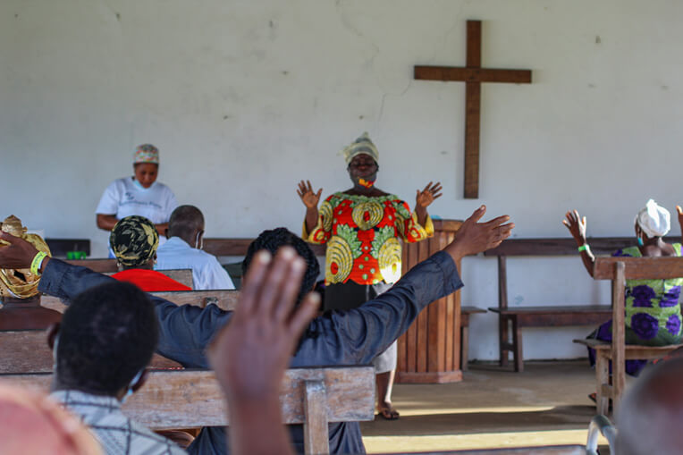 Cataract patients give thanks to God at ELWA hospital following successful sight-giving procedures provided through Samaritan's Purse physicians.