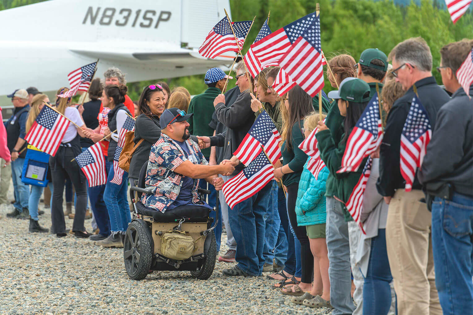 Marine Gunnery Sergeant TJ Tejada and his wife, Veronica, arrive on the Fourth of July for a week of marriage enrichment in Alaska through Operation Heal Our Patriots, a project of Samaritan's Purse.