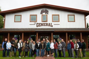 Vice President Mike and Karen Pence, Franklin and Jane Graham (center) join military couples and some of our Samaritan Lodge Alaska staff for a group photo.