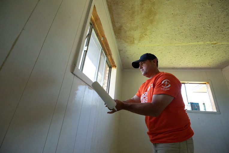 Volunteer Kevin Kruse came with his wife, Liz, to help with rebuild efforts in Lake Charles, Louisiana.