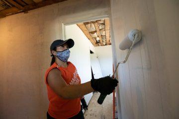 Volunteer Liz Kruse joined our rebuild efforts with husband, Kevin.