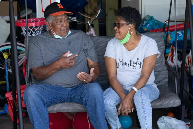 Rufus and Shirley have been living out of friends' homes the last several months as their home is rebuilt on the inside.