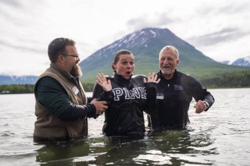 Trish publicly proclaimed her decision to receive Jesus Christ by being baptized in the cold waters of Lake Clark.