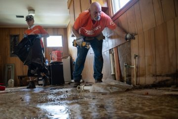 Our volunteers had to rip out waterlogged walls and flooring in Jeff's home.