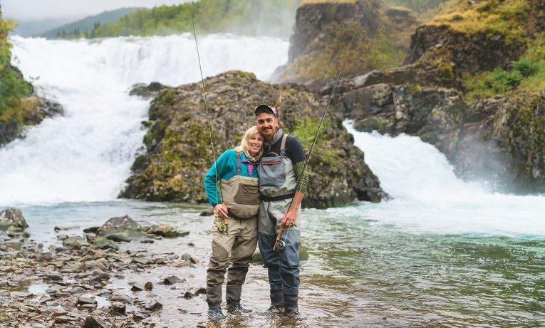 Marine Captain Ray Penny and his wife, Maggie, enjoyed fishing near Tanalian Falls.