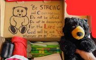 Theresa Bell themed this shoebox around camping with a picture of a deer on the outside and a stuffed bear, an animal t-shirt, and a water bottle inside.