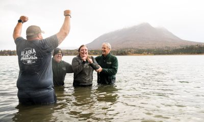 Army Sergeant Ryan York and his wife Jen were baptized in the painfully frigid glacier-fed waters of Lake Clark as southwest Alaska transitions into winter.