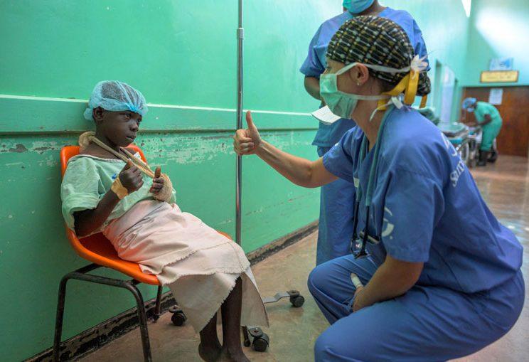 Dr. Julia Bedard with Marko before his procedure.