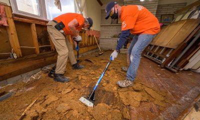 Samaritan's Purse volunteers at work in flooded homes.